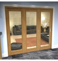Internal Oak Clear Glazed Bifold Doors - 1 Light Image