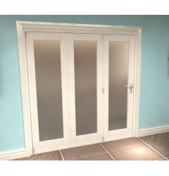 Internal White Frosted Glazed Bifold Doors - 1 Light Image